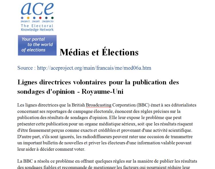 Lignes directrices volontaires pour la publication des sondages d'opinion - Royaume-Uni